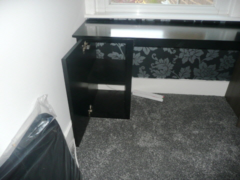 black desk and storage