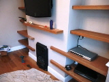 Oak living room shelves